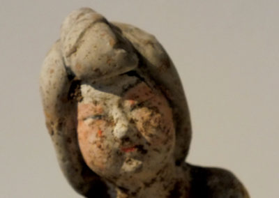 Painted Red Pottery Female Polo Player Astride a Galloping Horse (7)