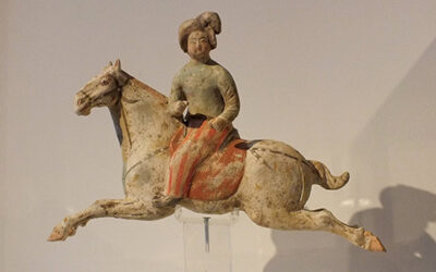 Female Polo Player Astride Galloping Pony