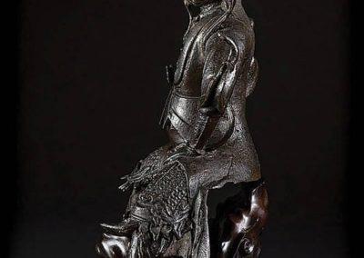 Large Black Lacquered Bronze Figure Guandi (1)