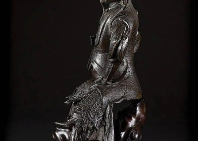 Large Black Lacquered Bronze Figure Guandi (1)