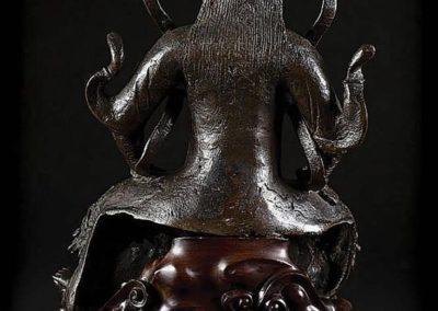 Large Black Lacquered Bronze Figure Guandi (2)
