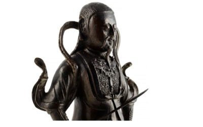 Large Black Lacquered Bronze Figure Guandi