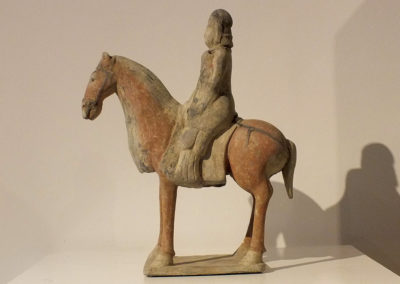 Painted Gray Pottery Equestrian Figure (1)