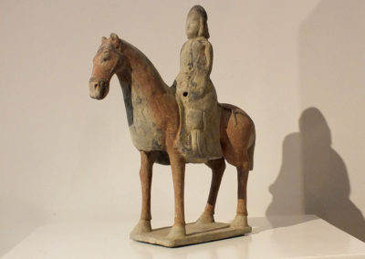 Painted Gray Pottery Equestrian Figure (2)