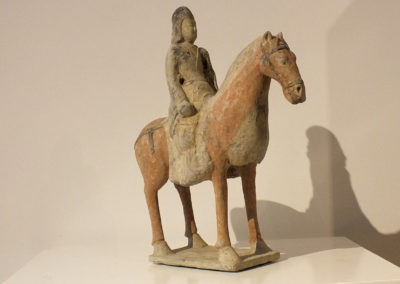 Painted Gray Pottery Equestrian Figure (3)