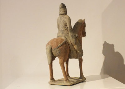 Painted Gray Pottery Equestrian Figure (4)