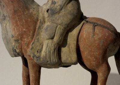Painted Gray Pottery Equestrian Figure (6)
