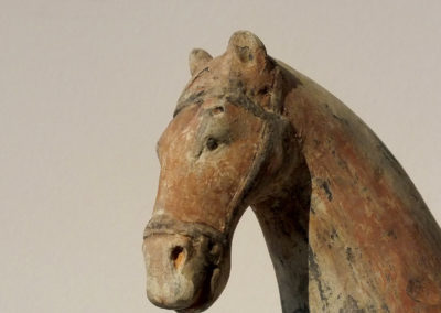 Painted Gray Pottery Equestrian Figure (7)