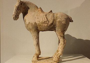 Painted Red Pottery Saddled Horse