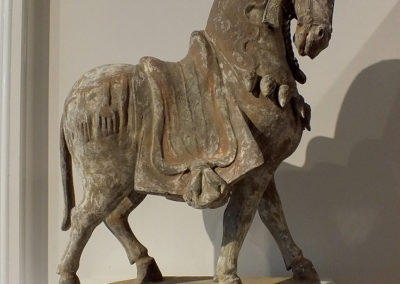 Large Painted Grey Pottery Caparisoned Horse (1)