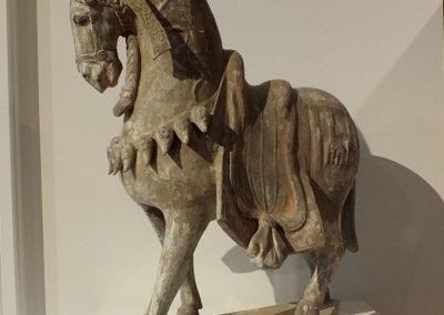Large Painted Grey Pottery Caparisoned Horse (11)