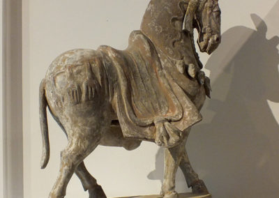Large Painted Grey Pottery Caparisoned Horse (13)