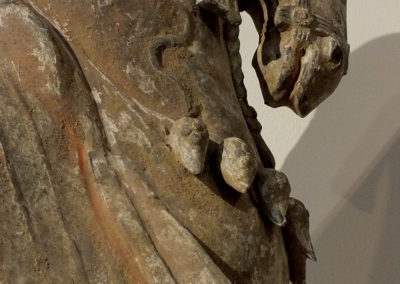 Large Painted Grey Pottery Caparisoned Horse (15)