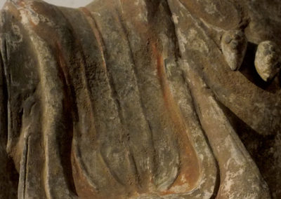 Large Painted Grey Pottery Caparisoned Horse (16)