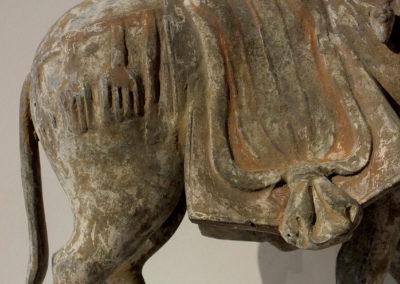 Large Painted Grey Pottery Caparisoned Horse (2)