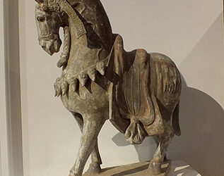 Large Painted Grey Pottery Caparisoned Horse