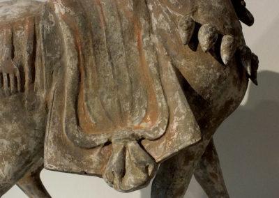 Large Painted Grey Pottery Caparisoned Horse (4)