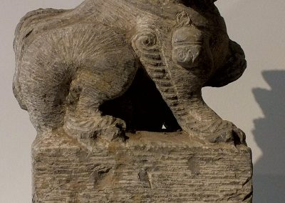 Large Gray Stone Seated Lion (6)