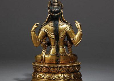Mongolia Gilt Bronze Figure Avalokitesvara (2)