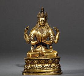 Mongolia Gilt Bronze Figure Avalokitesvara