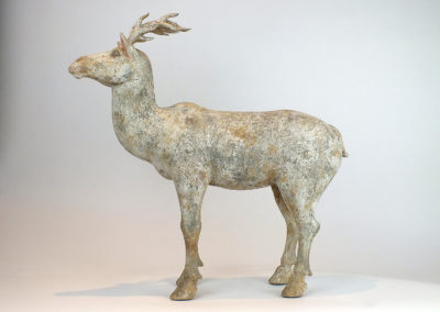 Painted Grey Pottery Deer (1)