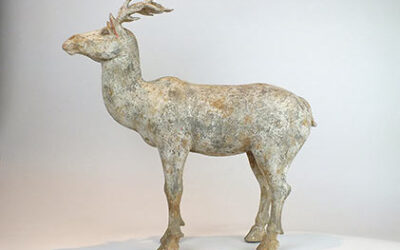 Painted Grey Pottery Deer