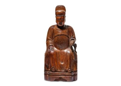 A Chinese Cypress Wood Dignitary (1)