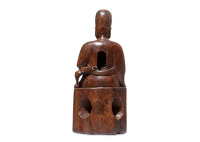 A Chinese Cypress Wood Dignitary (2)