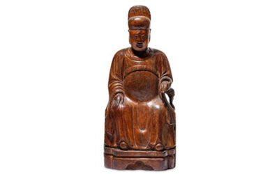 A Chinese Cypress Wood Dignitary