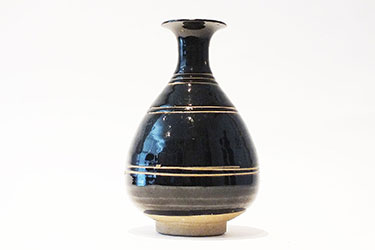 Brown-Glazed Pear Shaped Bottle Vase