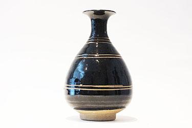 Brown-Glazed Pear Shaped Bottle Vase