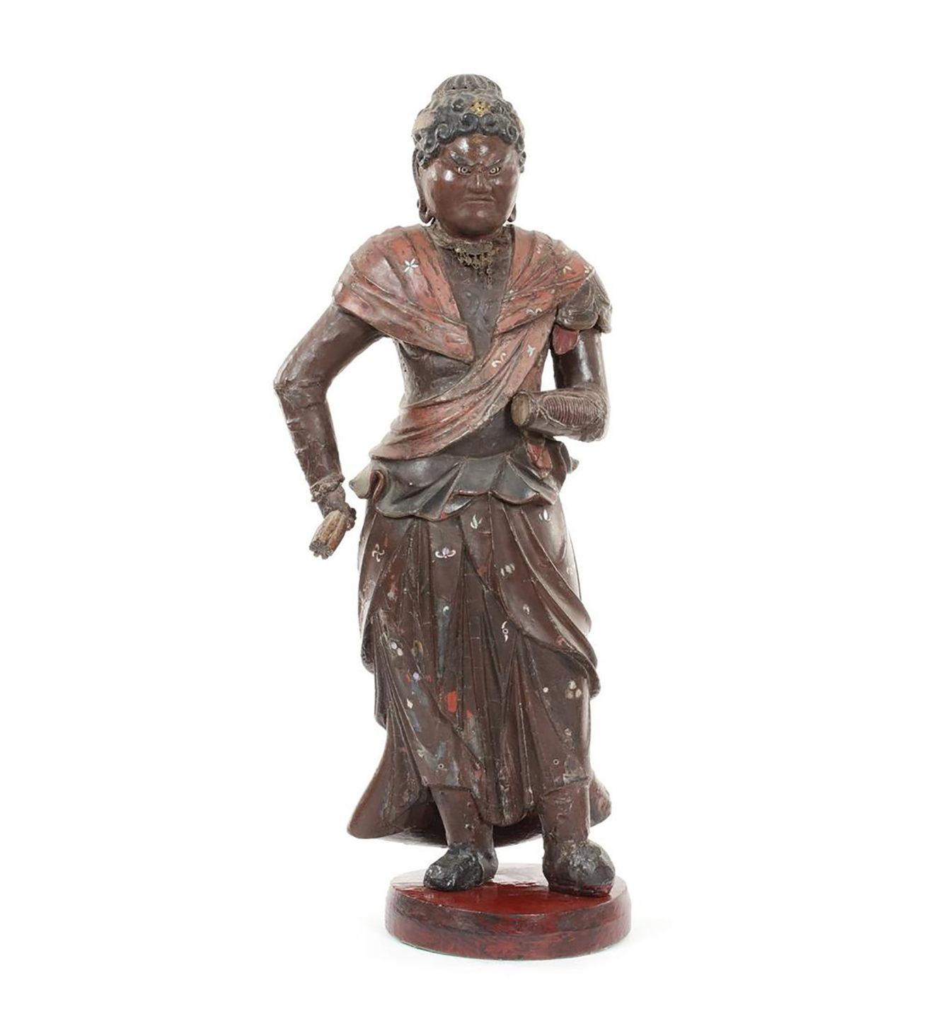 Rare Polychrome Wood Figure Taishakuten (1)
