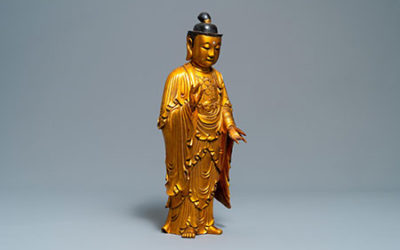 Chinese Gilt Wood Buddha