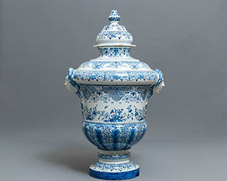 Massive Dutch Delft Urn and Cover
