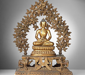 Monumental Gilt Bronze Buddha