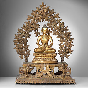 Monumental Gilt Bronze Buddha