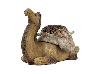 Pottery Figure of a Reclining Bactrian Camel